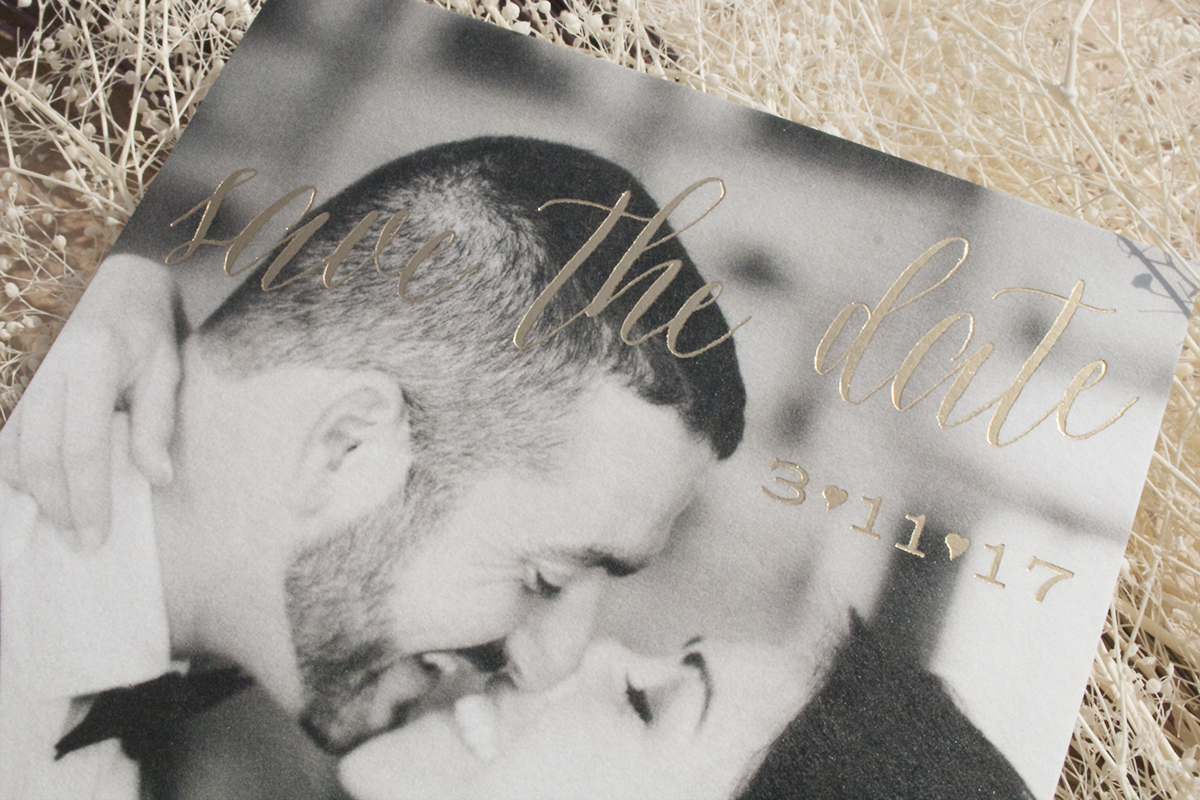 Georgina and Herbert, Photo Save the Date with gold foil, close up
