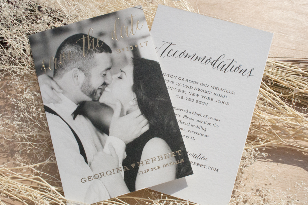 Georgina and Herbert Save the Date, photo with gold foil details