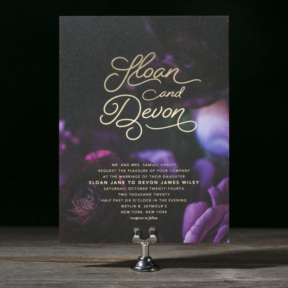 Sloan by Bella Figura, Modern wedding invitation, Calligraphy style font, bold black and purple digitally printed background with gold foil text
