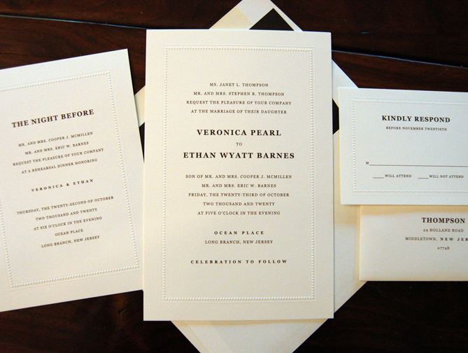 "DFP ""Treasure"" Wedding Invitation, Embossed Border, Black Thermography Ink"