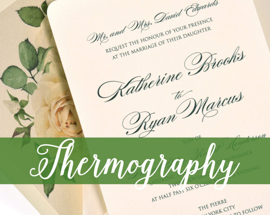 Thermography Printing Wedding Invitation Raised Ink Black And Ivory With Rose Liner