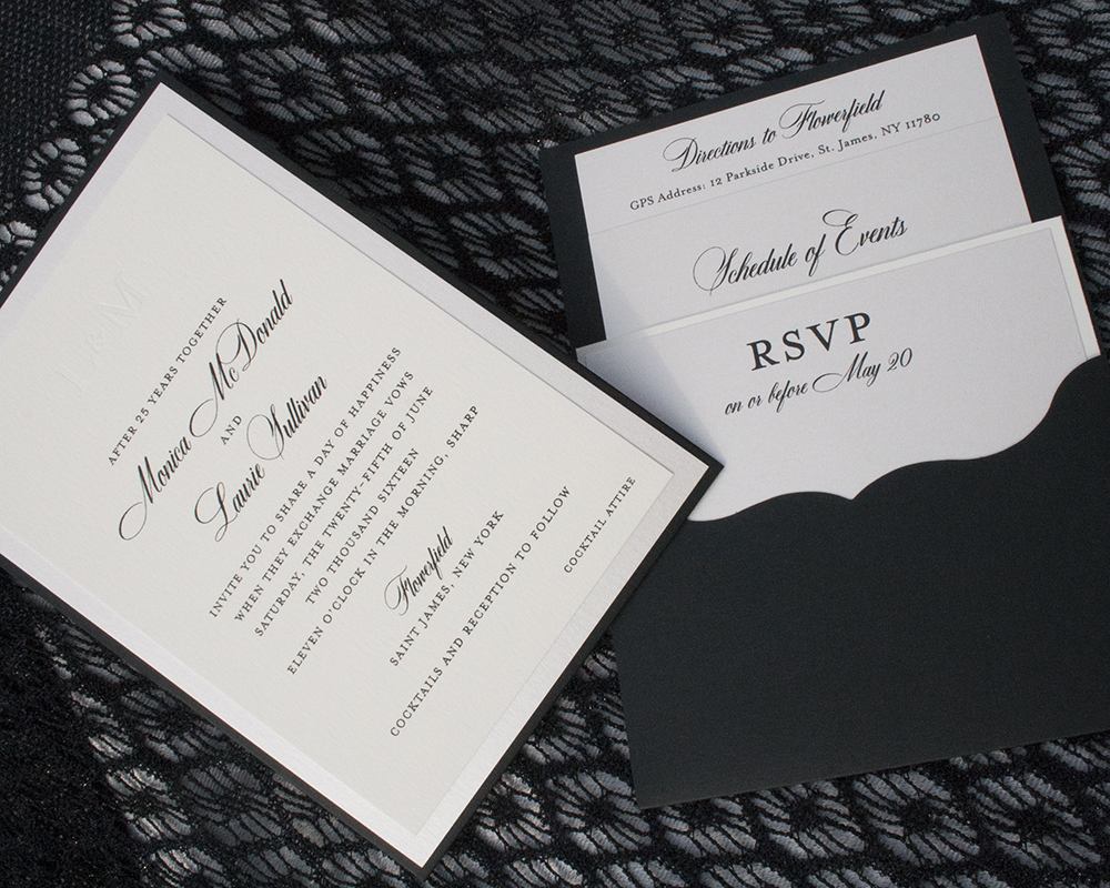 Laurie + Monica, Traditional Black and White Pocket Invitation, Layered of black, white and shimmer paper, classic calligraphy style typeface, monogram in pearlized foil