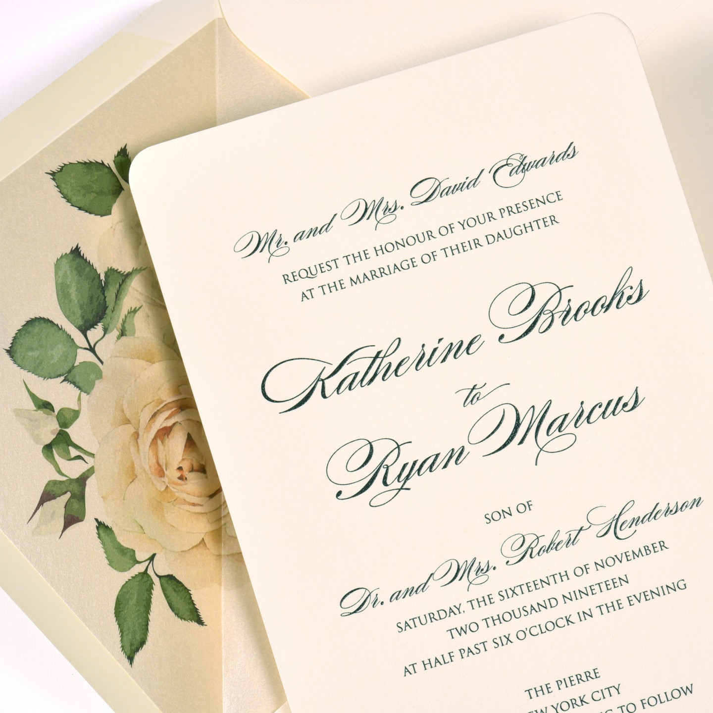 "Lemontree ""Katherine,"" Black and Cream Thermography Wedding Invitation with White Rose Floral Envelope Liner, Traditional Style, Calligraphy style font"