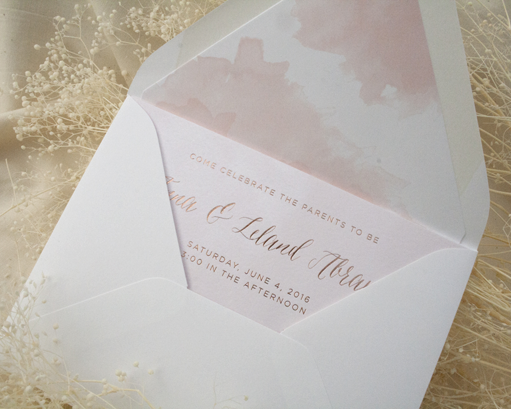 Baby Shower Invitation with Pink Foil, Rose Gold, Pink Watercolor Details