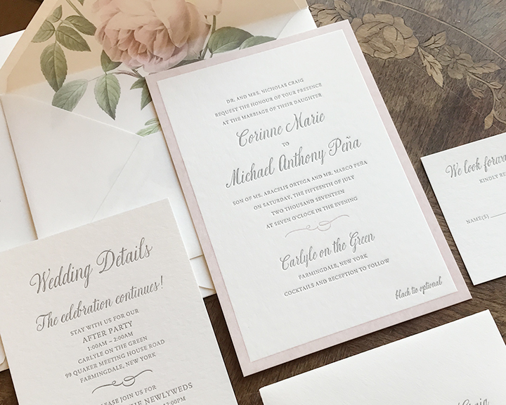 Letterpress Wedding Invitation with Blush and Gray Inks and Pale Pink Vintage Rose Envelope Liner