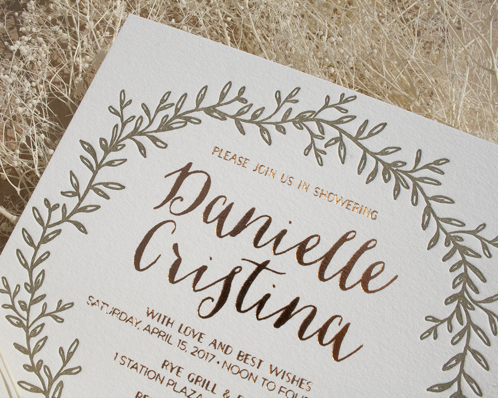 Rustic Copper Bridal Shower Invitation, Leafy Wreath in Olive Green Letterpress, Whimsical Fonts