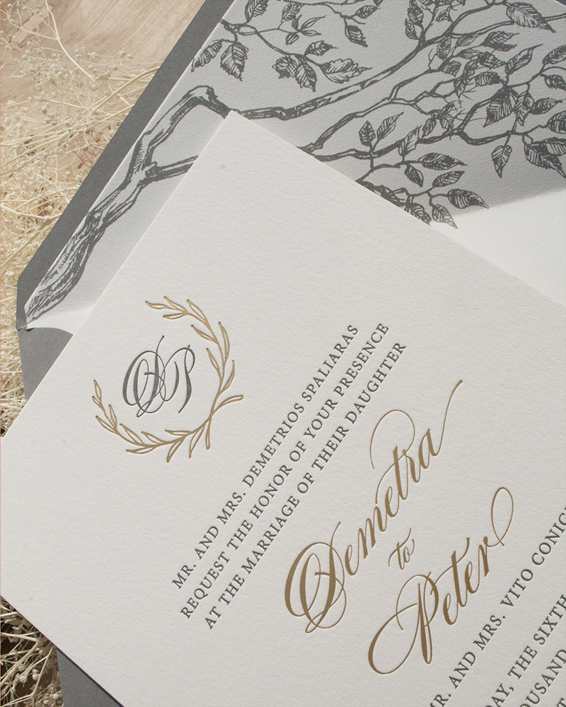 Demetra and Peter, Letterpress and Foil Invitation with Monogram and Laurel, Illustrated branch envelope liner and gray envelope, gray and gold color palette