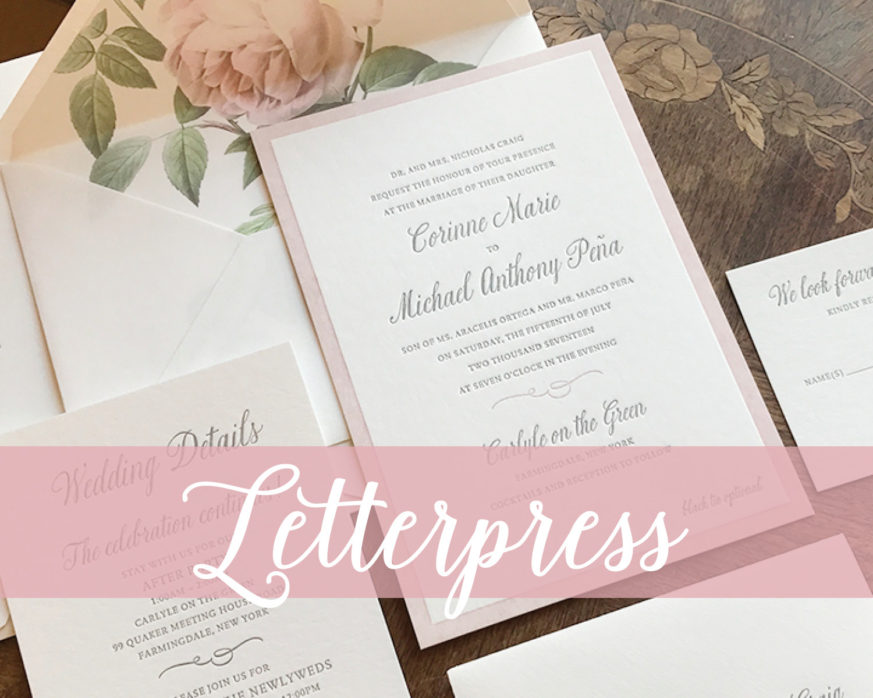 Letterpress Invitation, Traditional Wedding, Blush and Gray, Formal, Pink Rose Envelope Liner, Bamboo Paper, Pretty script font