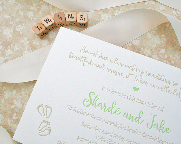 Twin Baby Shower, Letterpress Invitation for Surrogate Baby Shower, Green and Taupe, Gender Neutral