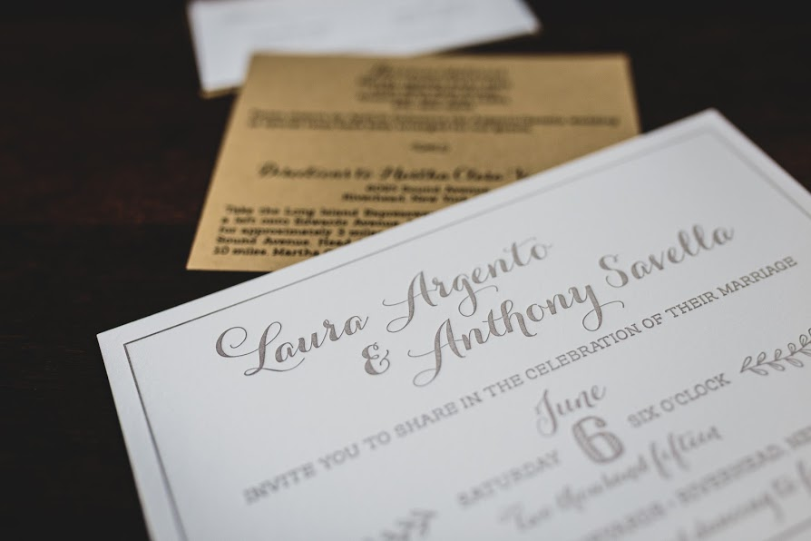 Laura and Anthony, Letterpress Whimsical Rustic Wedding Invitation, Kraft Paper White and Taupe, Leafy Details and Twine, Winery Wedding