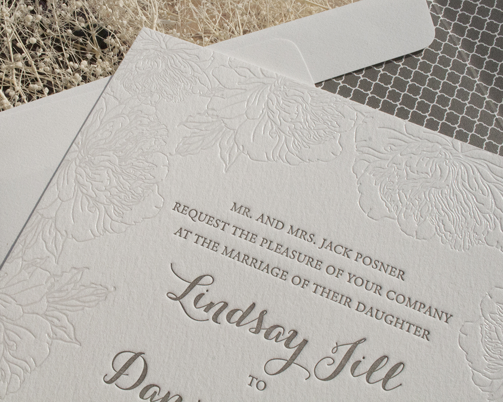 Floral Letterpress and Foil Wedding Invitation, Formal, Gray and White Color Paletter, Flower Border