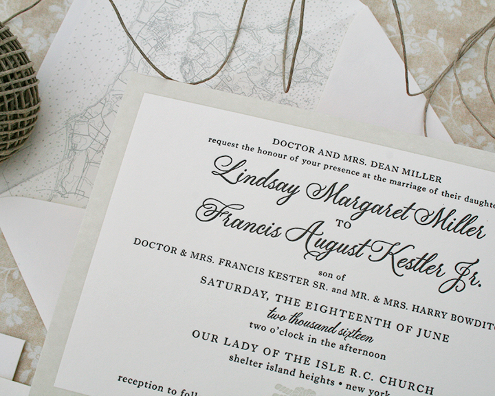 Letterpress Wedding Invitation with Tan and Black Inks, Nautical Knot Detail and Map Envelope Liner, Shelter Island Wedding