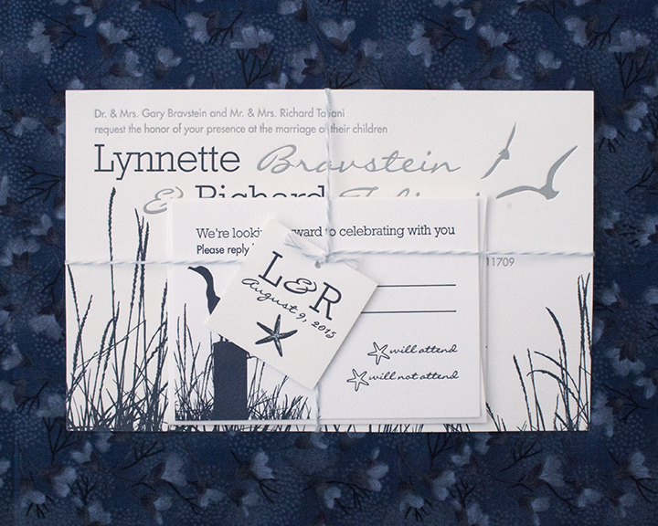 Lynette and Richard, Nautical Letterpress Wedding Invitation , Navy and White, Twine Detail, Beach Grass, Comoran, Seagulls, Modern Fonts
