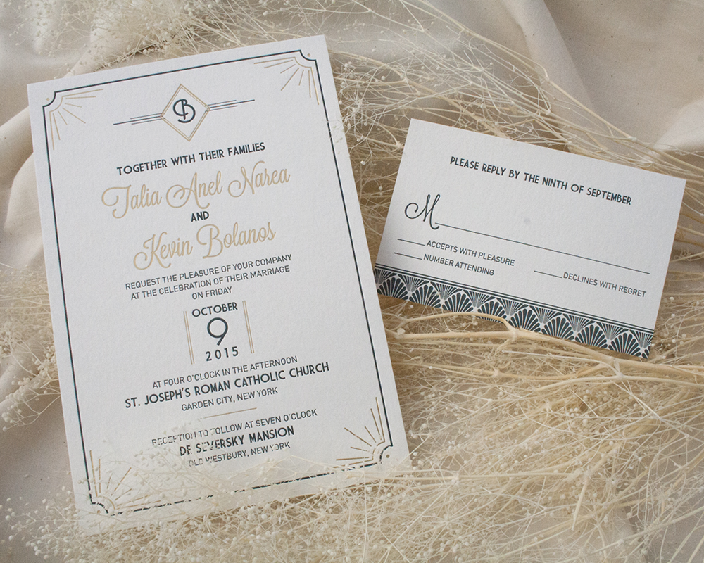 Deco Letterpress and Foil Wedding Invitation, Gold and Navy Color Palette
