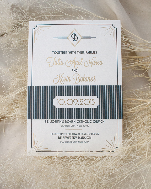 Deco Letterpress and Foil Wedding Invitation, Gold and Navy Color Palette with Letterpress and Foil Bellyband detail
