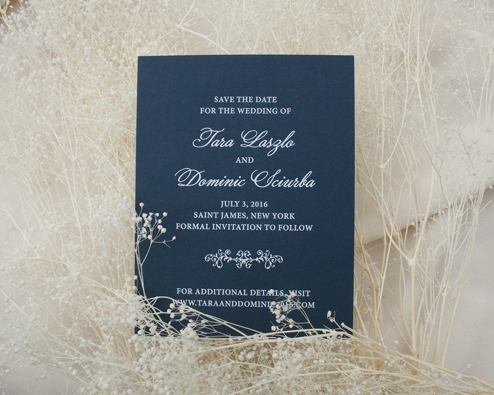Classic Navy and White Foil Save the Date