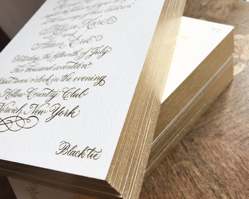 Formal gold foil invitation, custom calligraphy, gold foil edging