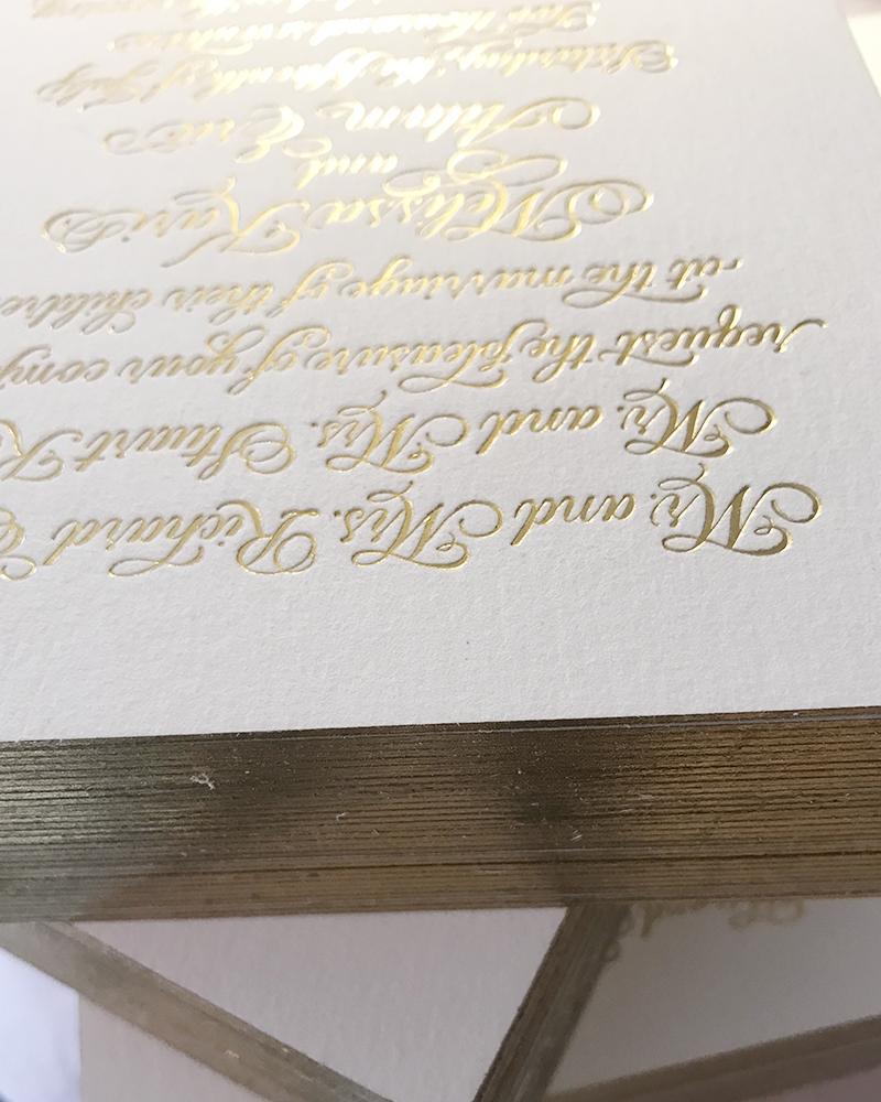 Formal gold foil invitation, custom calligraphy, gold foil edging