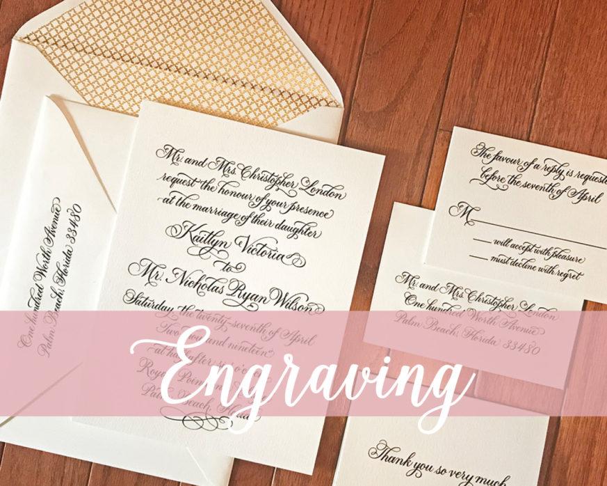 formal engraved invitation, black and white wedding invitation suite, gold foil envelope liner