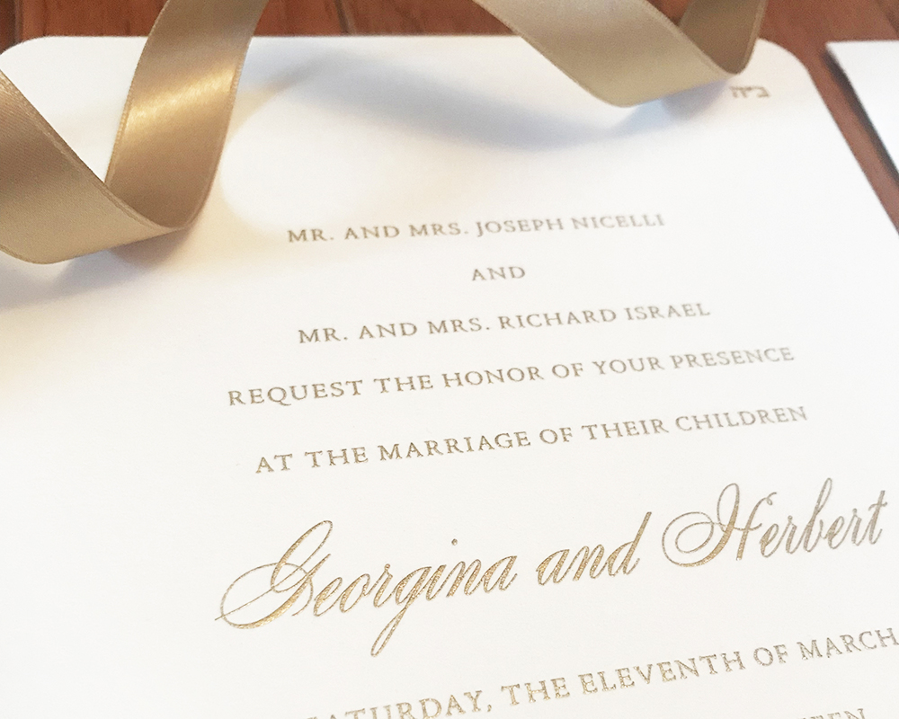 gold wedding invitation, elegant and formal style, engraved