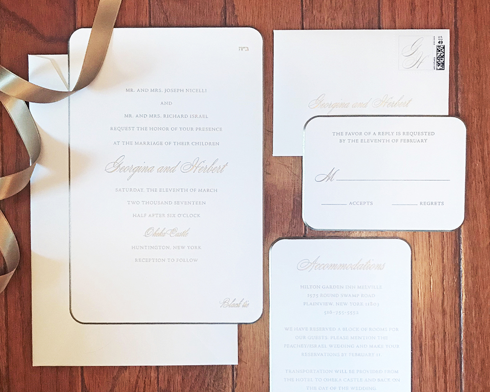 Elegant engraved wedding invitation for an Oheka Castle wedding, gold and white color palette