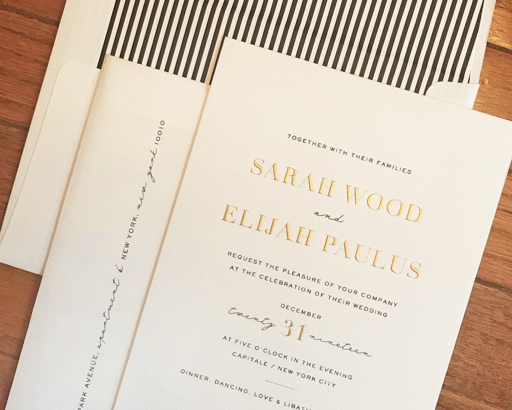 modern wedding invitation, black and gold with striped envelope liner