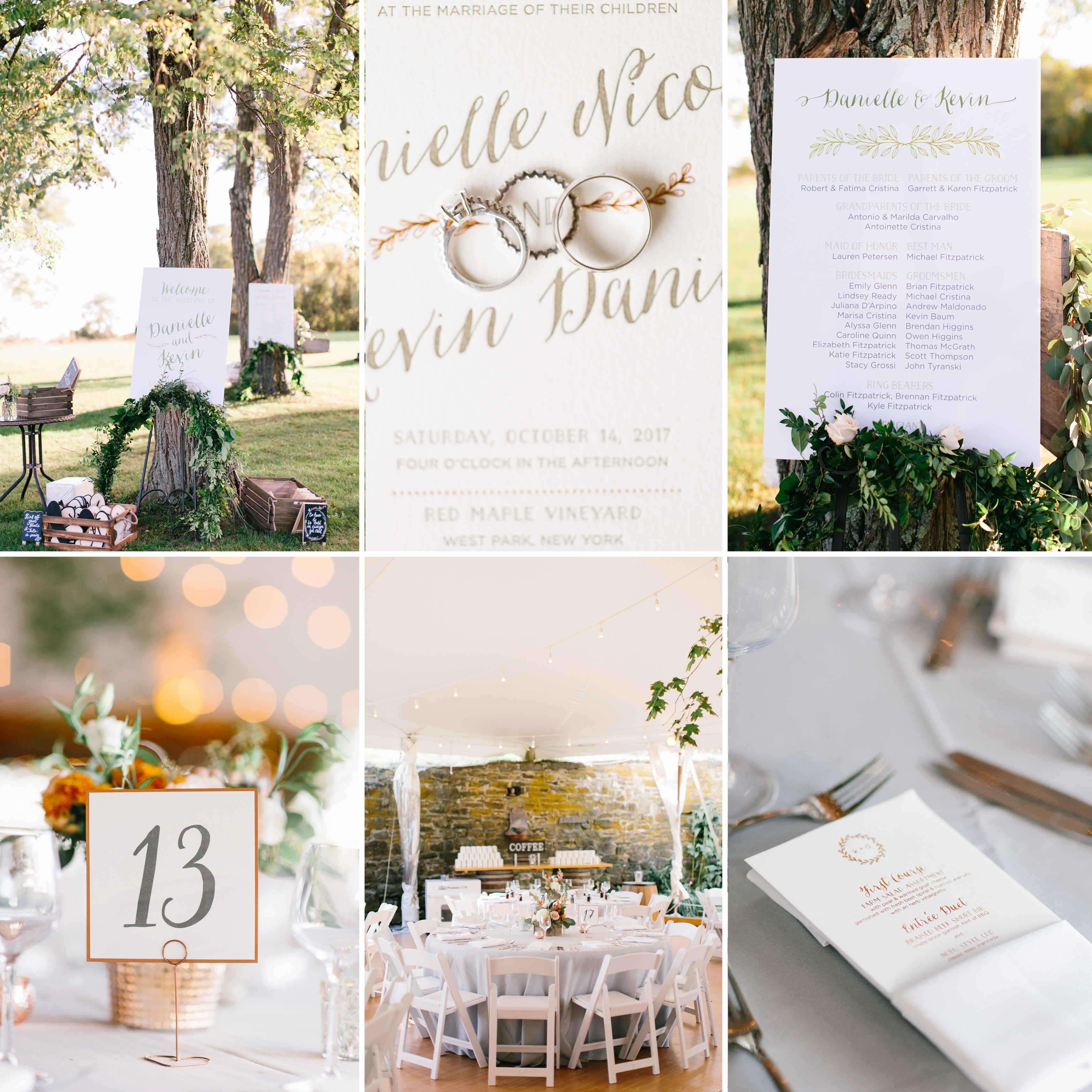 Paper details from a rustic wedding, table number in gray and copper, welcome sign and program sign, copper foil menu
