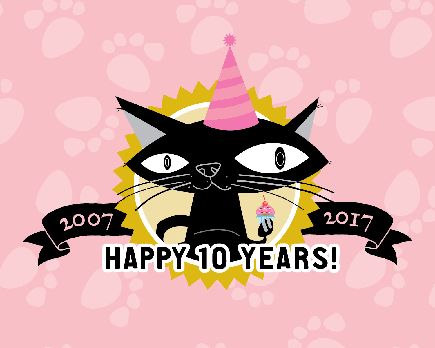 Fat Cat Birthday Badge, Black cat with cupcake, birthday hat and banner, pink paw prints