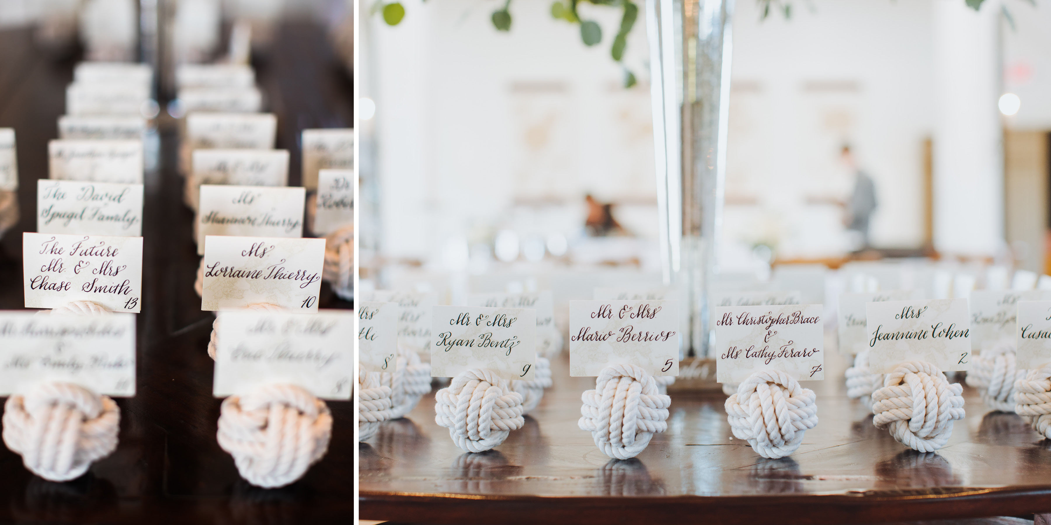 Nautical Hand Calligraphy Seating Cards, Nautical Knots with Map Detail Escort Cards