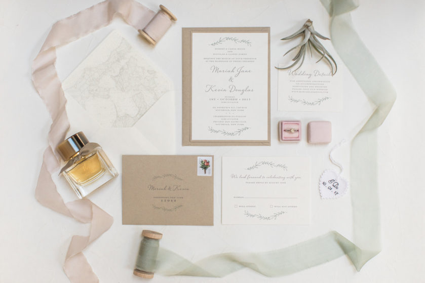 Rustic Wedding Details, Layered kraft paper invitation, rustic wedding menu, escort cards, greenery succulents