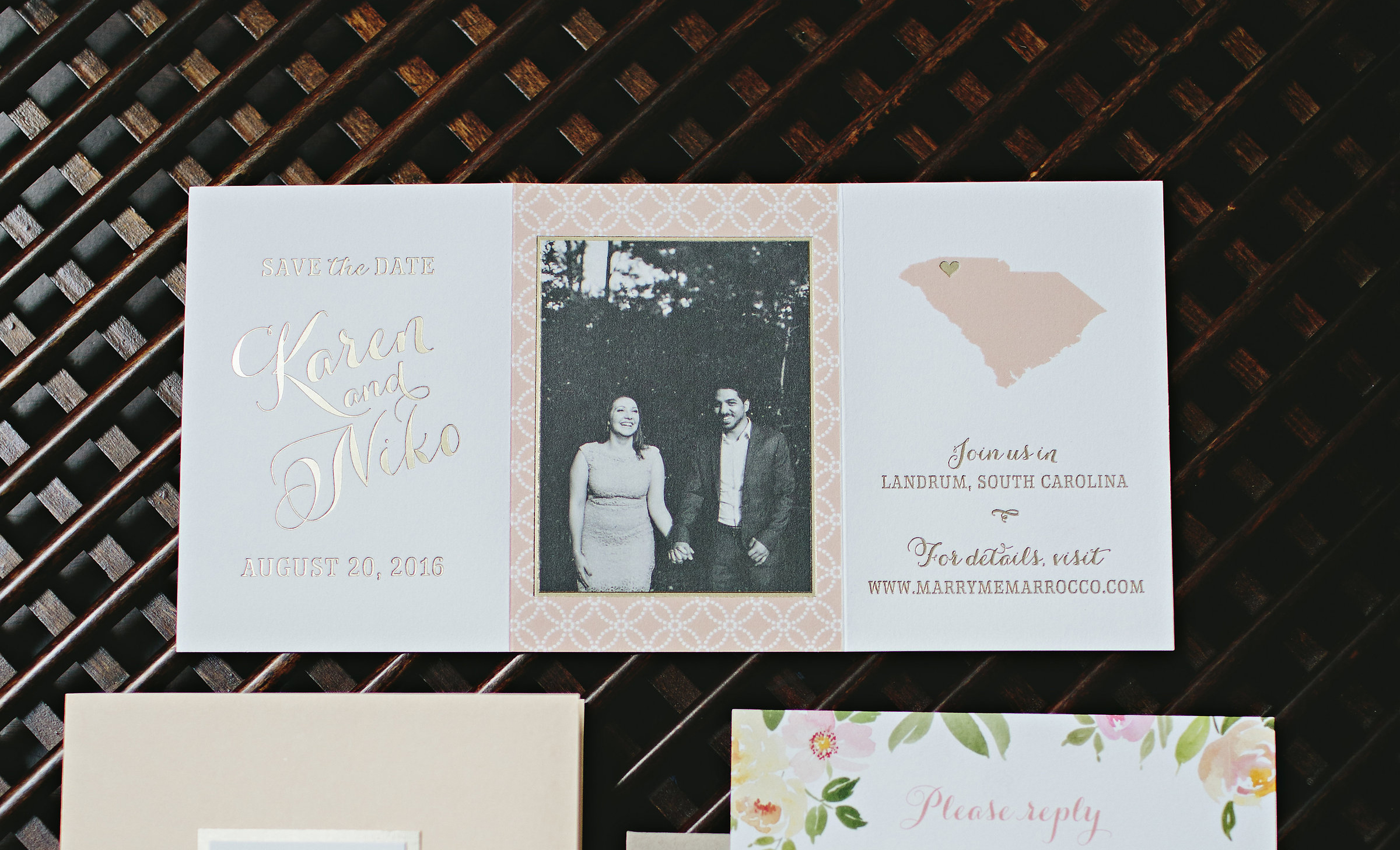 Destination Save the Date, Photo with State and Heart, Trifold, Gold Foil