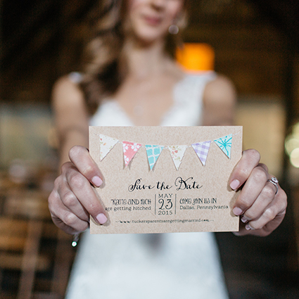 bride holiday rustic save the date, kraft paper card with whimsical fonts and fabric bunting flag details