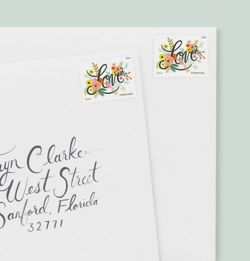 Floral Love Stamps, Whimsical Rifle Paper Postage Stamps