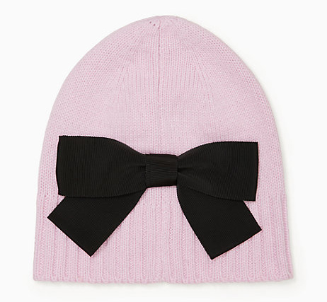 Kate Spade Beanie, Light Pink with Black Bow