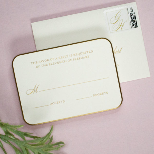 Gold, engraved reply card with custom monogram stamp