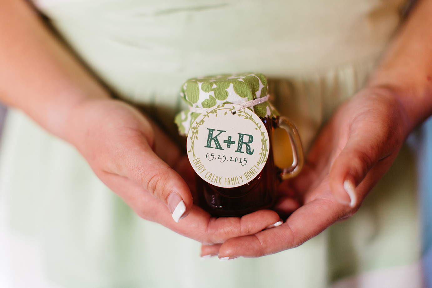 Honey Wedding Favor, green patterned fabric, bakers twine and favor tag with monogram