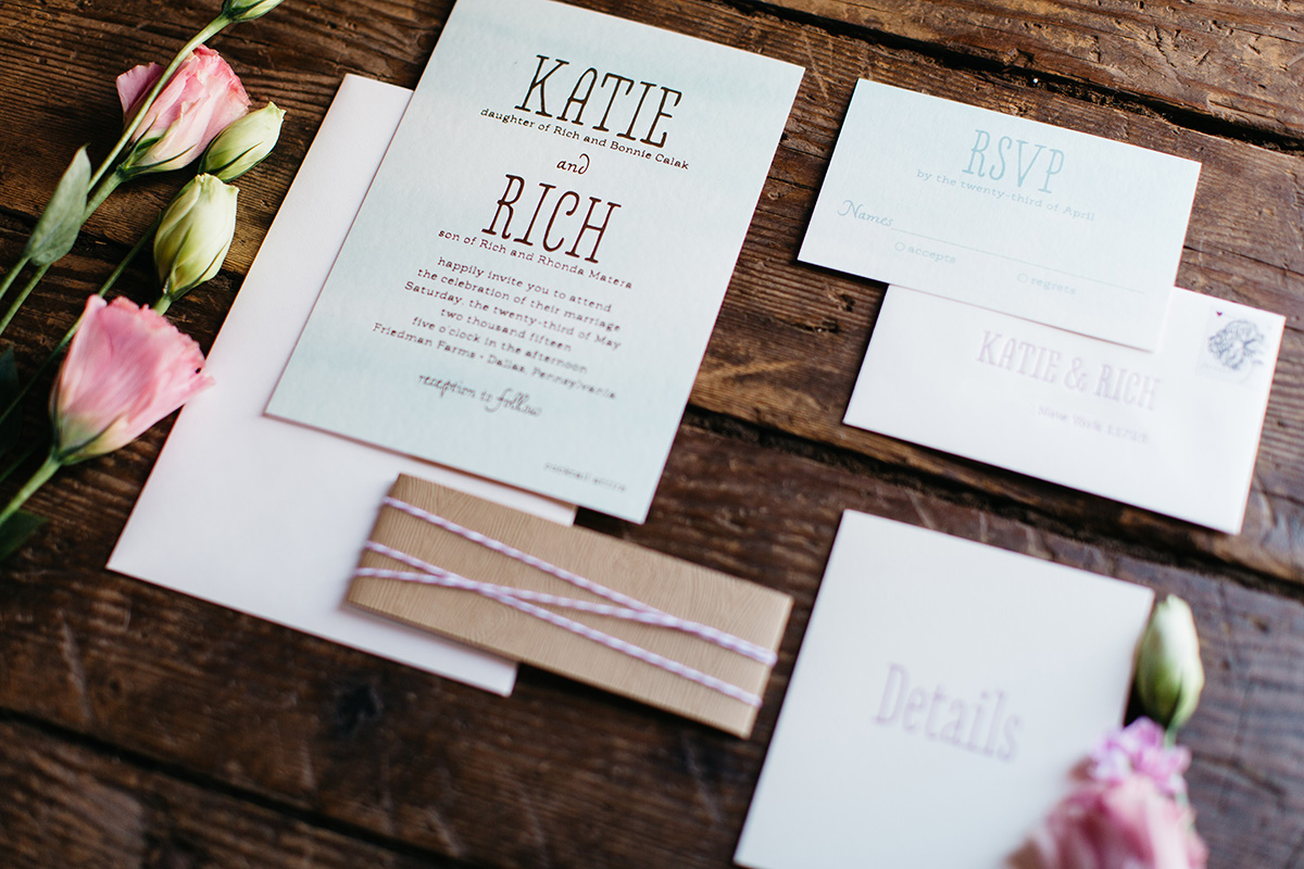 Rustic Wedding Invitations, Watercolor with woodgrain and foil details, blue and lilac color palette, letterpress details