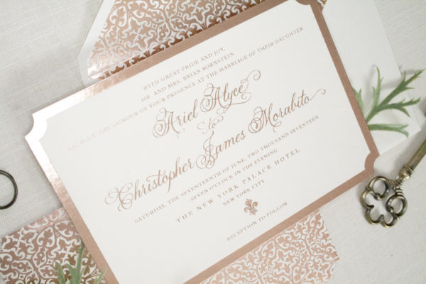 Rose Gold Formal Wedding Invitation, Diecut with rose gold border, calligraphy inspired script, rose gold color palette