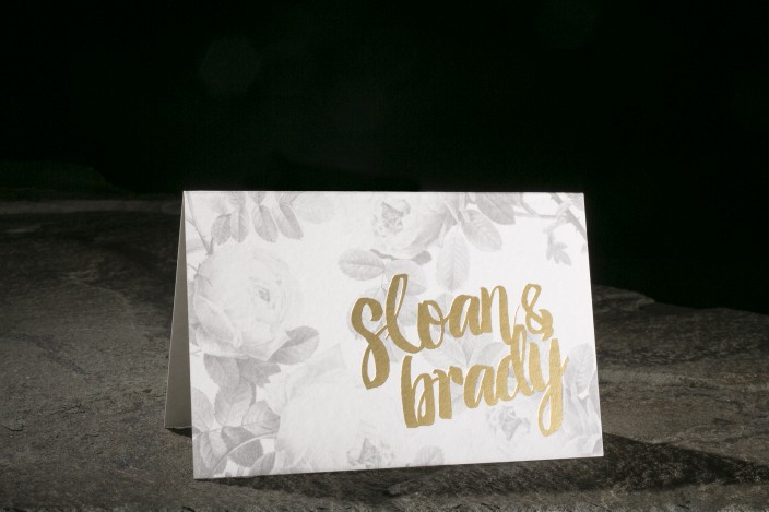 Modern Thank You Note, floral black and white thank you note with gold foil and modern script