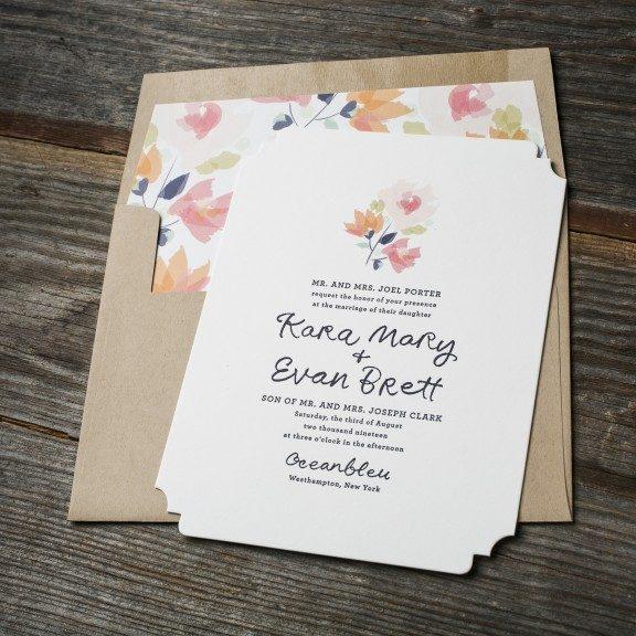 Watercolor Flower, Letterpress Wedding Invitation, Navy and Pink color palette, kraft paper envelope, floral envelope liner, whimsical fonts