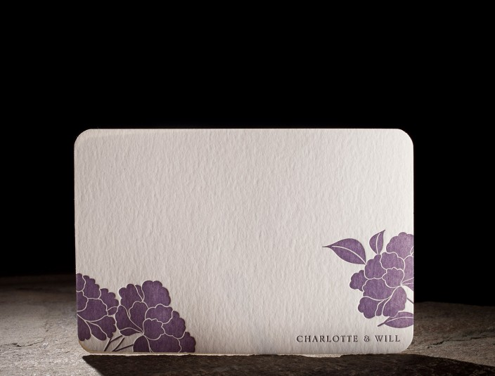 Floral Letterpress Thank You Note, flat card with purple ink