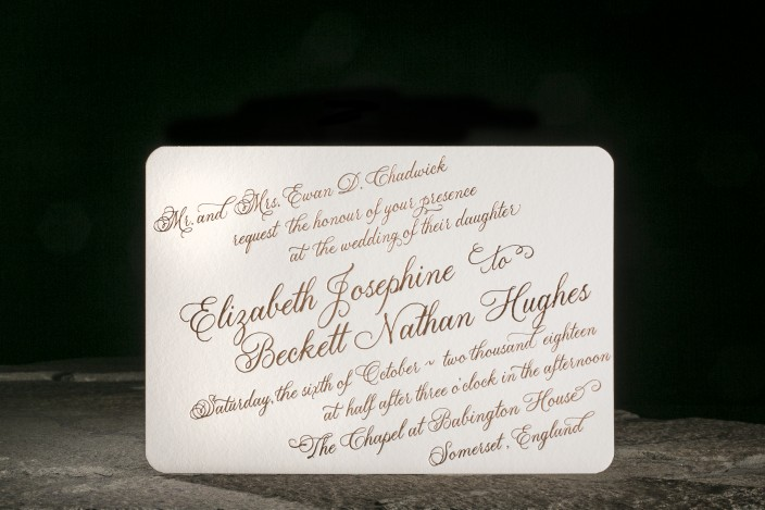 Copper Foil Wedding Invitation, Formal with all script text, Rounded Corners on warm white paper