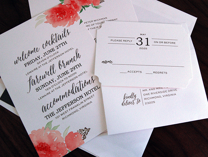 Whimsical Wedding Invitation, Coral flowers with letterpress details