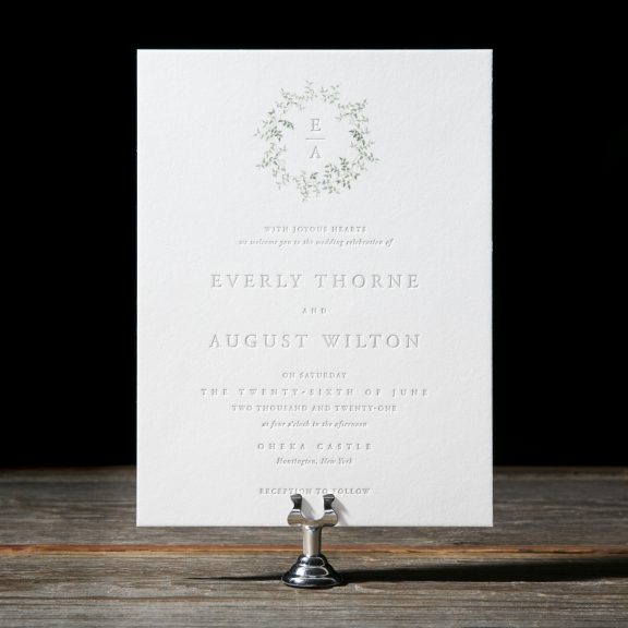 Romantic Wedding Invitation, Things we love, Delicate laurel greenery with clean typesetting, letterpress text, greenery illustration on envelope liner