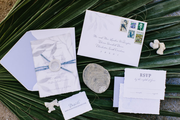 Wax Seal Wedding Invitation, Things we love, Airy leaves on vellum overlay with torn edge cards and vintage postage stamps, blue and gray color palette
