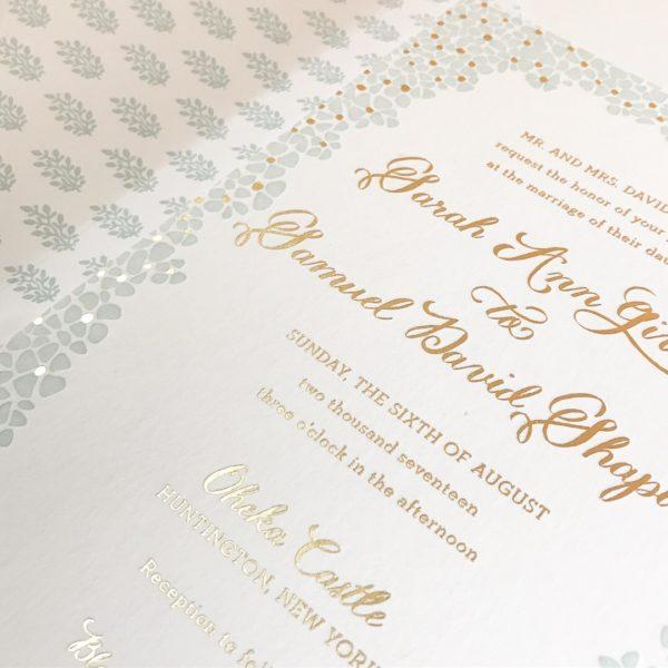 Floral Wedding Invitation, mint letterpress and gold foil, greenery envelope liner