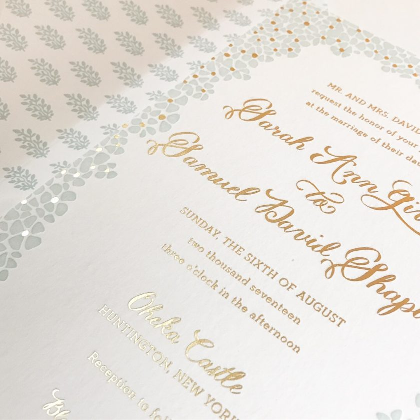 Floral Wedding Invitation, mint letterpress and gold foil, greenery envelope liner