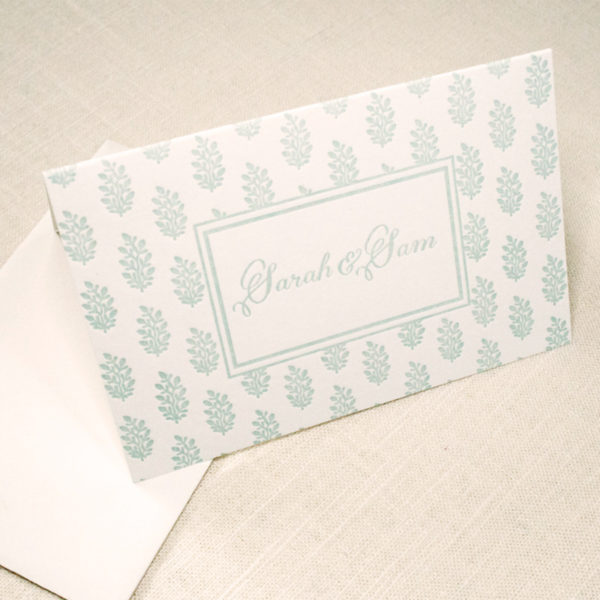 Min floral letterpress thank you note, folded card