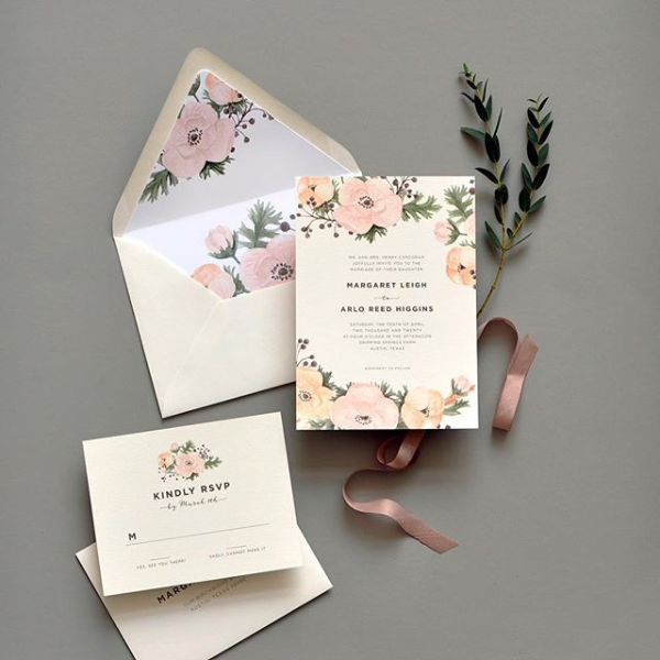 Floral wedding invitation suite, blush, peach and green color palette, whimsical design