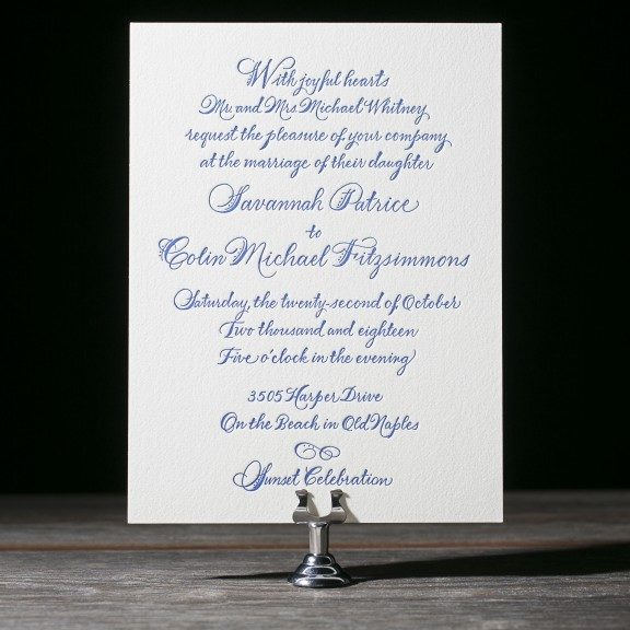 Classic Letterpress Invitation, Navy and white color palette, Hand calligraphy writing